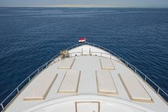 View over the bow over a large luxury motor yacht Royalty Free Stock Photography