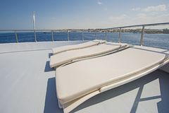 View over the bow over a large luxury motor yacht Royalty Free Stock Images