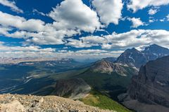 View over Bow Valley, in Banff National Park. View over Bow Valley from Fairview Mountain at Lake Louise, Banff National Park, Alberta, Canada Royalty Free Stock Images