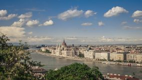View over Budapest with Parliament Building and Danube from Buda Castle royalty free stock photography