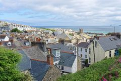 A View Over Buildings of St Ives. A View Over Buildings at St Ives in Cornwall stock image