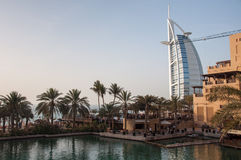 View over Burj Al Arab famous hotel, Dubai, UAE Stock Photos