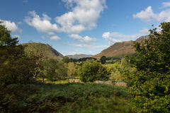 View over Buttermere village to distant hills Royalty Free Stock Image