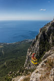 View over cable car from mountain Ai Petri near Yalta. Ukraine royalty free stock images