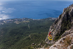 View over cable car from mountain Ai Petri near Yalta. Ukraine stock photos