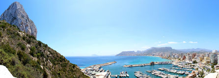 View over Calp beach and famous Natural Park of Peñón de Ifach Royalty Free Stock Photos