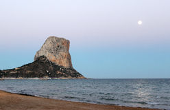 View over Calp beach and famous Natural Park of Peñón de Ifach Stock Photo