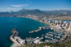 View over Calpe Calp town, Spain. Shot from the Penon   Ifach Stock Photos