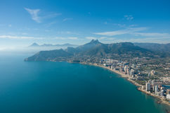 View over Calpe Calp town, Spain. Shot from the Penon   Ifach Stock Images