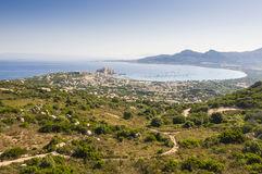 View over Calvi. Panoramic view over Calvi and the bay from Notre Dame de la Serra. Haute-Corse, Corsica, France, Europe Stock Photography