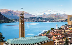 View over Campione D'Italia and Lake Lugano Stock Photos