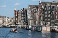 View over a canal in amsterdam stock photo