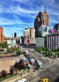 View Over Canal Street. NEW YORK CITY - JUNE 20: View overlooking Canal Street in New York City on June 20, 2014. Modern Instagram effect filter royalty free stock images