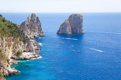View over Capri island beach and Faraglioni rocks from the top in summer. royalty free stock photography