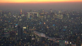 View over Central Tokyo at dusk stock video footage