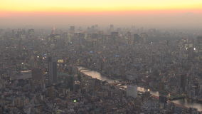 View over Central Tokyo at dusk stock video