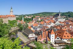View over Cesky Krumlov with Moldau river in Summer Stock Photography