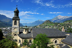 View over Church in Old Town of Sion. View over the church roof in the old town of Sion, Switzerland.  In teh foreground one of several churches in the old town Royalty Free Stock Image