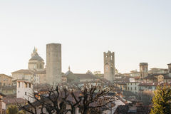 View over Citta Alta or Old Town buildings in the ancient city of Bergamo, Lombardia, Italy on a clear day. Royalty Free Stock Image