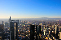View over the city. Of Frankfurt\Main (Germany) to the Taunus highlands. The skycrapers in the front are the headquarters of some german banking institutions Royalty Free Stock Photos