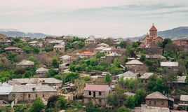 View over the city of Akhaltsikhe, in the Samtskhe-Javakheti region of Georgia royalty free stock photography