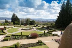 Belfast Castle Gardens with the dock area and the city in the distance Royalty Free Stock Photography