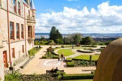 Belfast Castle Gardens with the dock area and the city in the distance stock photo
