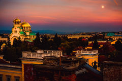 View over city centre in Sofia Bulgaria. Beautiful sunset photo of Sofia Bulgaria in the downtown historical centre of the city royalty free stock images