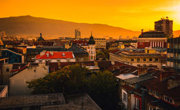 View over city centre in Sofia Bulgaria. Beautiful sunset photo of Sofia Bulgaria in the downtown historical centre of the city Stock Photography