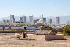 View over the city of Fujairah. Heritage Village in the foreground. United Arab Emirates royalty free stock photos