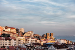 View Over City of Lisbon at Sunset Stock Photo