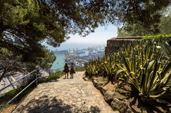 View over the city and port from Montjuic Hill, seaside cityscape, Barcelona, Spain. Royalty Free Stock Photo