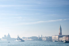 View over a city of Venice with a naval ship Royalty Free Stock Photo