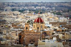 View over the city of Victoria or Rabat at Gozo, the neighboring island of Malta Stock Image