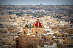 View over the city of Victoria or Rabat at Gozo, the neighboring island of Malta.  Royalty Free Stock Photos