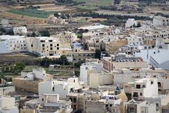 View over the city of Victoria or Rabat at Gozo, the neighboring island of Malta.  Royalty Free Stock Images