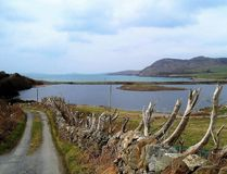 View over the bay to Inishbofin stock images