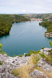 View over cliff on dalmatian town Skradin Royalty Free Stock Photo