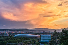 View over Cluj-Napoca at sunset. Aerial view over Cluj-Napoca at sunset Royalty Free Stock Images