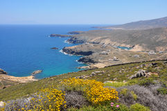 View over coastal landscape of greek island Mykonos in spring, greece Royalty Free Stock Image