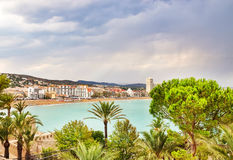 View over the coastline of Peniscola, Spain Stock Photography