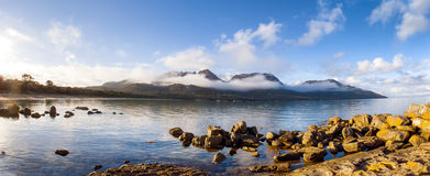 Hazard Ranges, Freycinet National Park. View over Coles Bay towards the Hazard Ranges, Freycinet National Park, on the east coast of Tasmania royalty free stock image