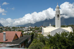 View over colonial town of Cilaos on La Reunion island Royalty Free Stock Photos