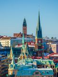 View over colorful churches and roofs of Gothenburg during Winter. Sweden royalty free stock images