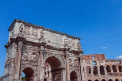 View over Colosseum and Arch of Constantine stock photo