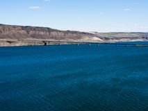 Columbia river in Washington state, USA. View over Columbia river and I-90 Vantage bridge from Ginkgo Petrified Forest State Park royalty free stock image