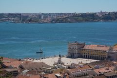 View over commercial square in lisbon royalty free stock photos