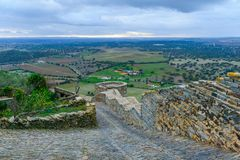 View over countryside from Monsaraz. View over countryside from the old walls of Monsaraz, Portugal Royalty Free Stock Photo