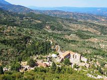 View over the countryside and palace at the ancient site of Mystras, Greece. View over the countryside and palace at the ancient hillside site of Mystras in Stock Photo