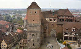 View over courtyard of Kaiserburg castle in Nuremberg Royalty Free Stock Photos